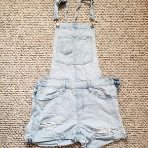 H&M Light Wash Short Overalls